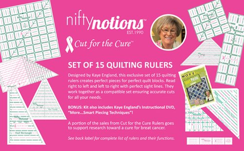 Nifty Notions Cut for the Cure - 15 Quilting Rulers Designed by Kaye England by Nifty Notions