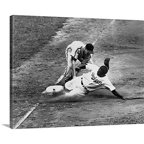 Solid-Faced Canvas Print Wall Art Print Entitled Jackie Robinson, as a Member of The Brooklyn Dodgers, 1949 16