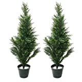Pure Garden Artificial Mini Cedar Topiary Trees, Set of 2, 34''