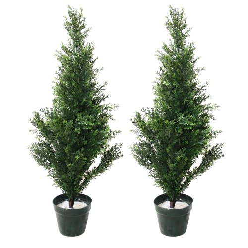 Pure Garden 34 Inch Artificial Cedar Tree - Large Faux Potted Evergreen Plant for Indoor or Outdoor Decoration at Home or Office (Set of 2)