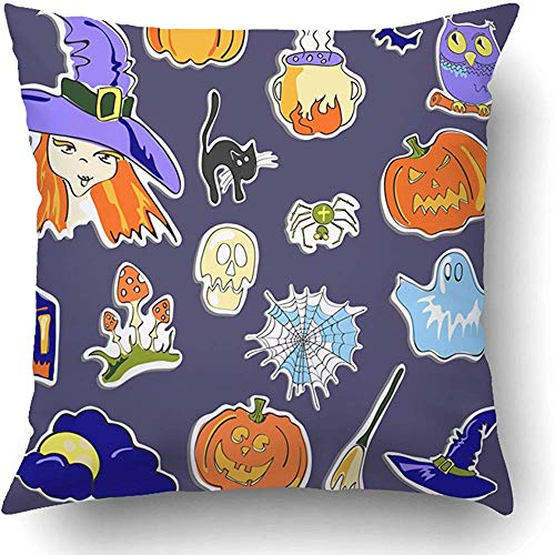 Throw Pillow Covers Black Wizard Halloween Stickers on Violet White Abstract Autumn Clip Clip Clipart Collection Polyester 18 X 18 Inch Square Hidden Zipper Decorative Pillowcase]()