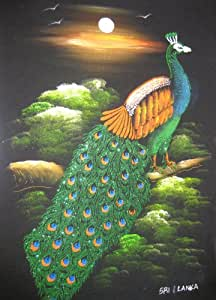 Amazon.com: Sri Lanka Peacock Velvet Fabric Glitter Art