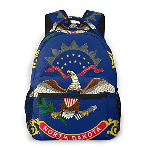 North Dakota Flag Print Custom Unique Casual Backpack School Bag Travel Daypack Gift