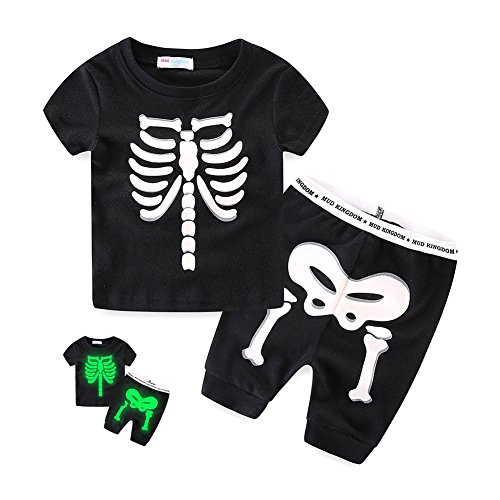 VICVIK Boys Short Pajamas Cotton Skull-Glow-in-the-dark Toddler Clothes Little Kids Pjs Sleepwear (4t, (Cool Suits For Boys)
