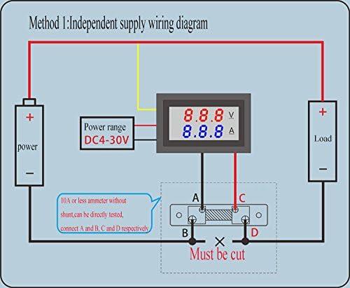 Voltmeter Amperemeter Dual Digital Volt Amp Meter Messgerät 100v 10a Beleuchtung