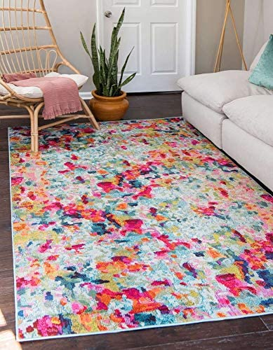 Unique Loom Chromatic Collection Modern Abstract Colorful Kids Multi Area Rug 8' 0 x 10' 0