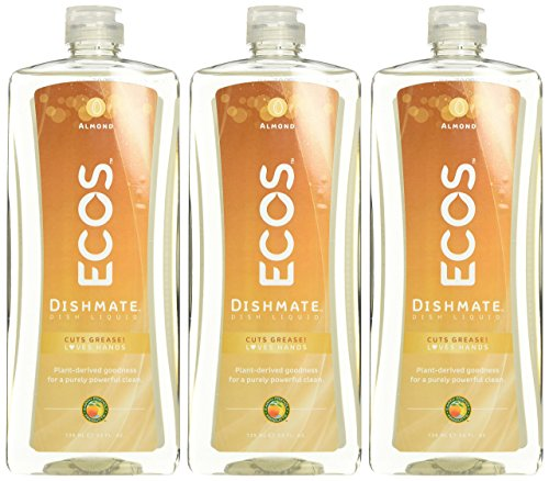 Earth Friendly Products Dishmate, Dishwashing Liquid, Natural Almond, 25 Ounce (Pack of 3) Dishmate Natural