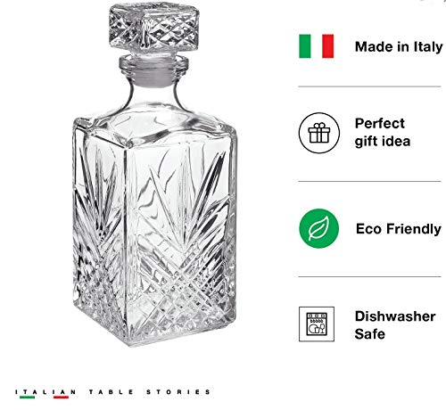 Italian Made Glass Whiskey Decanter – For Liquor, Brandy, Vodka and Scotch | with Sophisticated Diamond Design | 33.75oz with Airtight Stopper | Packaged in an Exquisite Gift Box by James Scott (Image #3)