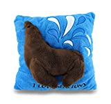 Zeckos Polyester Throw Pillows I Love Sea Lions Soft Blue And Brown Fuzzy 2D Decorative Throw Pillow 14In. 14 X 14 X 4 Inches Brown