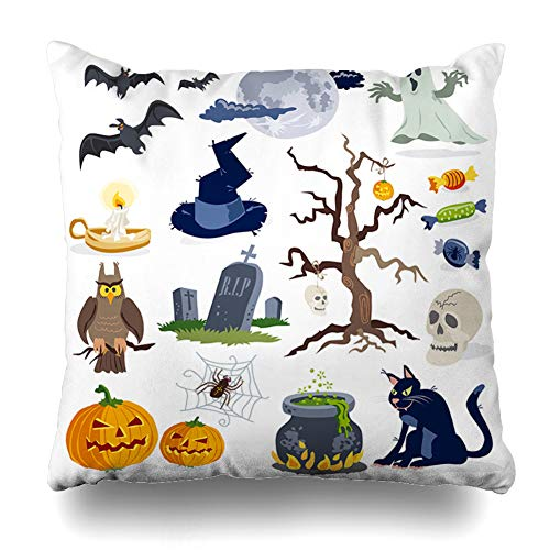 Pakaku Decorativepillows Case Throw Pillows Covers for Couch/Bed 18 x 18 inch, Halloween Cartoon White Black Candy Cat Funny Home Sofa Cushion Cover Pillowcase Gift Bed Car Living Home -