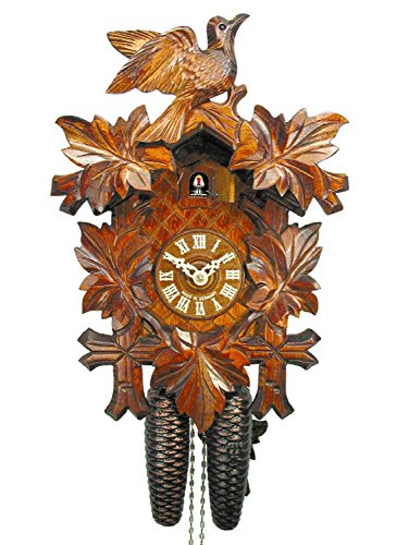 Wall Cuckoo Clock Mechanical 8 Day with 1 Bird & 5 Leaves; German Black Forest Coco Coo-Coo ()