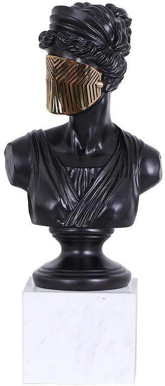 Andou Nk 彫刻、クリエイティブホームデコレーション、仮面キャラクターオーナメントアートワーク、リビングルームオフィスサイズ:9.06X9.06X17.32in