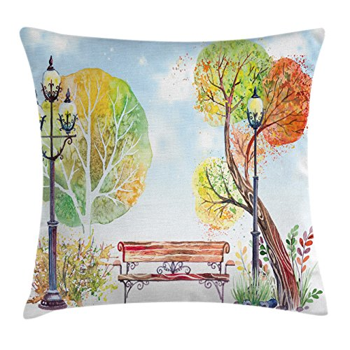 Ambesonne Lantern Throw Pillow Cushion Cover, Colorful Fall Trees Wooden Bench in City Park with Blue Sky Autumn Season, Decorative Square Accent Pillow Case, 18 X 18 inches, Orange Yellow -