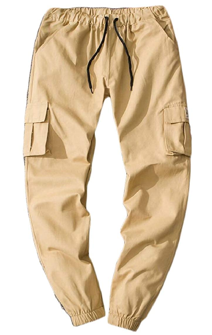Yayu Mens Drawstring Cargo Solid Color Multi-Pockets Slim Leisure Jogger Pants