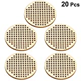 Amosfun 20pcs Wooden Hanging Circle Wooden Cross Stitch Plate Mini Embroidery Template for DIY Crafts Wedding Christmas Hanging Decor