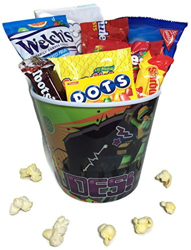 Mini Movie Card (Kids Mini Movie Night Gift Basket ~ Includes Popcorn, Cookies and Candy in a Character Bucket (Teenage Mutant Ninja)