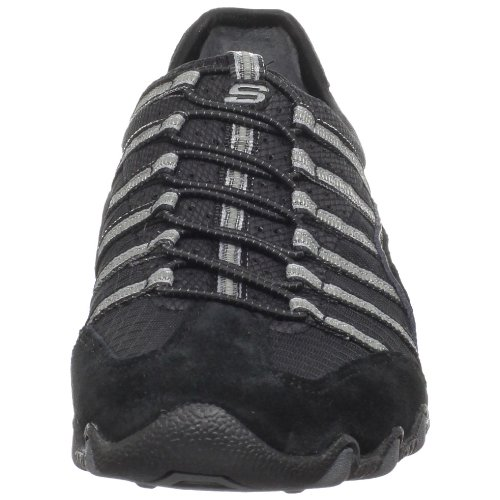 Skechers Bikers Serve-It-Up 21153 BKGY - Zapatos de ante para mujer Negro