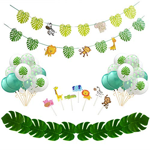 (Jungle Safari Party Supplies -42 PackJungle Theme Party Decorations Jungle Safari Banner Cake Toppers and Latex Balloon and Palm Leaves for Birthday Party Jungle Theme Party)