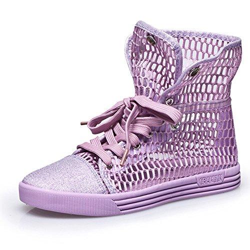 Do.BOMRVII Frauen Sommer Helle Hohlmasch Schuhe kühlen Ankle Boot Wohnungen Breath Sandalen Dancer Sneakers Purple