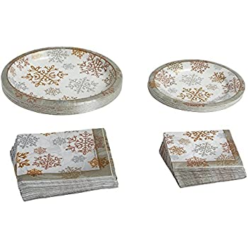Gold and Silver Snowflakes Paper Goods Set Dinnerware Paper Plates Napkins 18 Guests 108 Piece Set  sc 1 st  Amazon.com & Amazon.com: Red Christmas Snowflakes Paper Plates (36) Napkins (40 ...