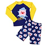 Eleanos Boys 2 Piece Long Sleeve Sun Protection Rashguard Swimsuit