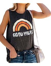 7b8b30920cc4e2 NANYUAYA Womens Summer Good Vibes Graphic Tee Sleeveless Crewneck Casual Top  T-Shirt