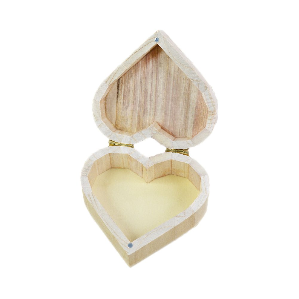 Colorido Retro Love Heart Shaped Wooden Earrings Necklace Ring Storage Case Jewelry Box