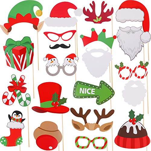 Jovitec 82 Pieces Christmas Photo Booth Props Kit, for Christmas Event Party Favors and Christmas Decorations Art Crafts ()