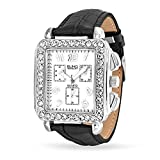 Bling Jewelry Square Crystal Deco Style Black Leather Strap Stainless Steel Back Watch