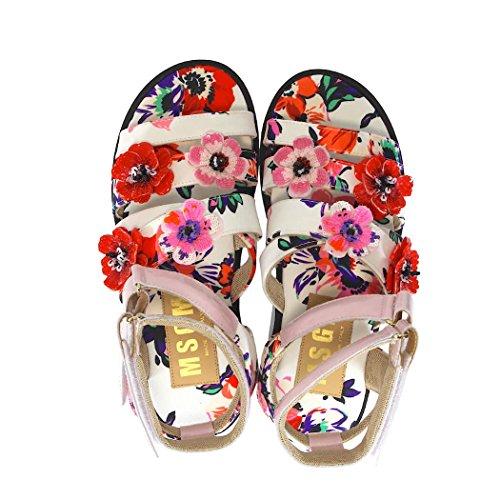 MSGM Damen Blumen mit Stickerei Mehrfarbige Sandalen