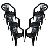 CrazyGadget Plastic Garden Low Back Chair Stackable Patio Outdoor Party Seat Chairs Picnic Grey Pack of 6