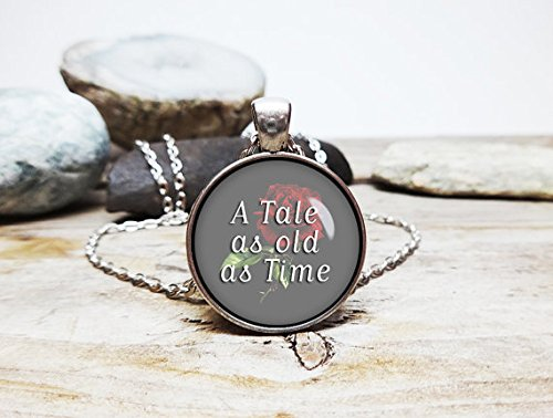 A tale as old as time necklace beauty and the beast necklace beast pendant belle necklace disney princess jewelry fairy tale necklace