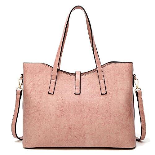 Haut Pour Sacs Grande Ladies Cross tout Shopping Fourre poignée Fashion Sacs Les corps Commerce Bandoulière Capacité En Pink Sacs Main à PU Cuir à wzqZWXz0