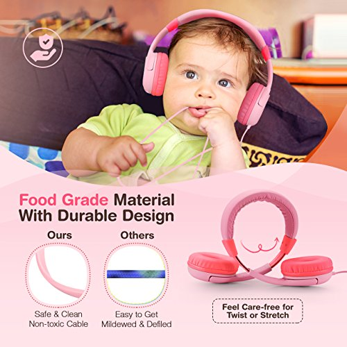 Mpow Kids Headphones with 85dB Volume Limited Hearing Protection & Music Sharing Function, Kids Friendly Safe Food Grade Material, Tangle-Free Cord, Wired On-Ear Headphones for Children Toddler Baby by Mpow (Image #4)'