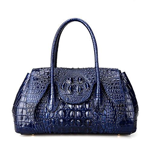 Handbag Shoulder Bag Crocodile Blue Jsix Womens Leather Embossed Genuine xwnqXwYTa