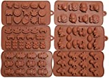 OliaDesign Silicone Baking Cupcake Liners Candy Molds Set (6 Pack), Brown