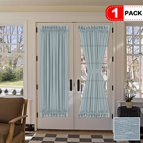 """H.VERSAILTEX 72 Inches Length French Door Curtain Panel -Light Filtering Natural Linen & Poly Solid Rod Pocket Curtains for Glass Door - 52"""" x 72"""" - Teal - Set of 1"""