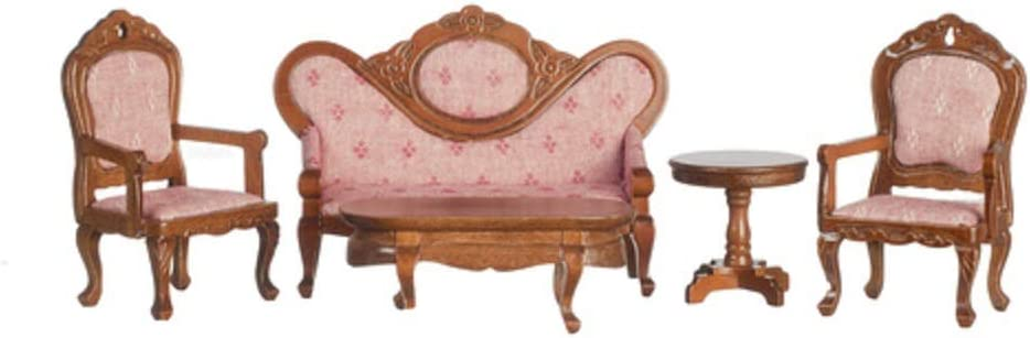 Melody Jane Dollhouse Victorian Living Room Furniture Set Walnut & Pink