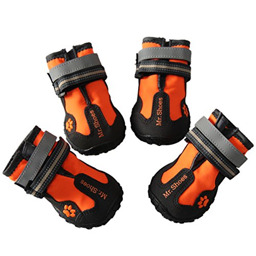 vecomfy Waterproof Dog Shoes for Small Dogs,Outdoor mountaineering Non-slip Dog Boots Protect Paws by (Orange,Size 4) by vecomfy