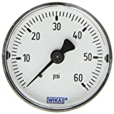 WIKA 4302036 Commercial Pressure Gauge, Dry-Filled, Copper Alloy Wetted Parts, 2