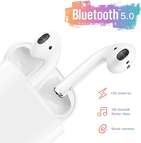 Wireless Earbuds Bluetooth 5.0 Headsets Bluetooth Headphones 24Hrs Charging Case 3D Stereo IPX5 Waterproof Pop-ups Auto Pairing Fast Charging Earphone,for airpod iOS Samsung Android Earbuds