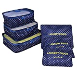 Lovewe 6Pcs Waterproof Travel Clothes Storage Bags,Luggage Organizer Pouch Packing Cube (E)