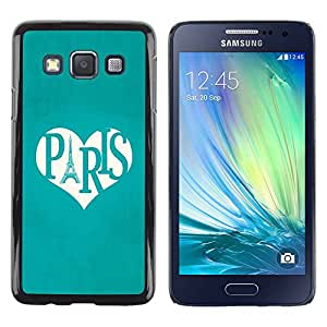 TopCaseStore / la caja del caucho duro de la cubierta de protección de la piel - Heart Mint Green White Eifel - Samsung Galaxy A3 SM-A300