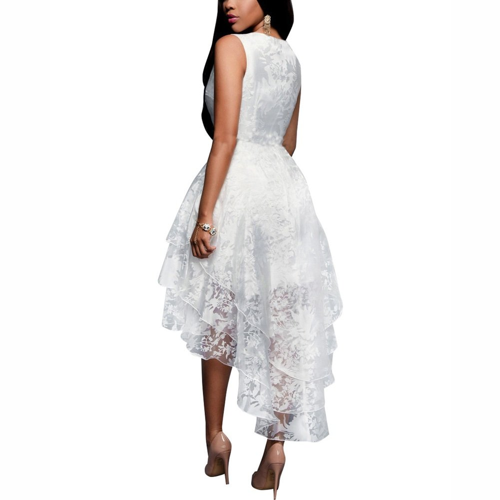 Dora Bridal Womens Hi-lo Organza Sweet 16 Prom Dresses White High Low Evening Gown