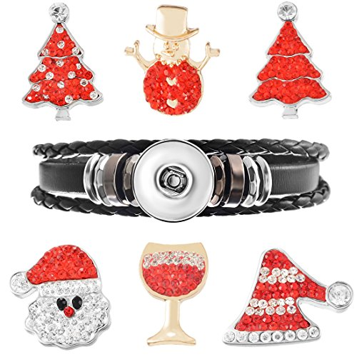 Souarts Black Braided Multilayer Bracelet with Christmas Tree Snowman Rhinestone DIY Snap Buttons Jewelry Charms - Charm Black Snowman