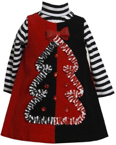 Bonnie Jean Girls Christmas Tree Corduroy Jumper Dress Set, Black, -