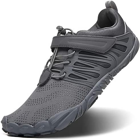 Arcaico binario Negociar  EVGLOW Men's Barefoot Running Shoes Trail Minimalist with Wide Width Toe  Box, 5 Five Finger Minimus Shoes for Gym Workout Walking Cross Training  Zero Drop Male Comfort Lightweight Sneakers Grey, Size 7: