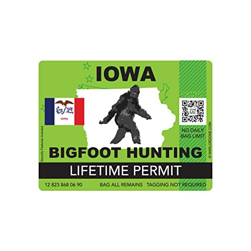 Iowa Bigfoot Hunting Permit Sticker Die Cut Decal Sasquatch Lifetime FA Vinyl
