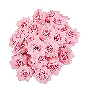 NiceWave 50Pcs Artificial Silk Rose Flower Heads for Wedding Decoration DIY Party Festival Home Decor Pink Beautiful jewelry 32