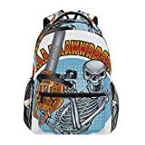 CANCAKA Grinning Human Skeleton Holding Chainsaw 16' Theme Laptop bag Lightweight Rucksack Backpack Daypack bags Cute for School